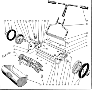 Detail of a Qualcast B1 from original instruction manual found on the Old Lawnmower Club website