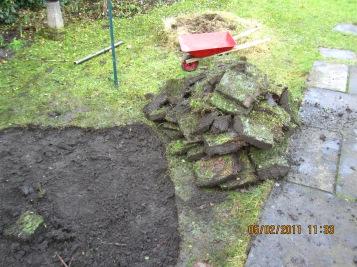 Garden pond and fairy mound in preparation